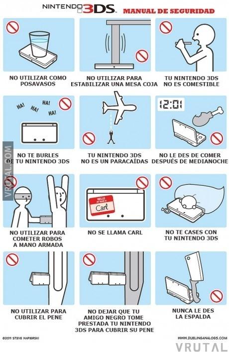 vrutal   nintendo 3ds y su peculiar manual de instrucciones nintendo wii instruction manual nintendo 3ds instruction manual
