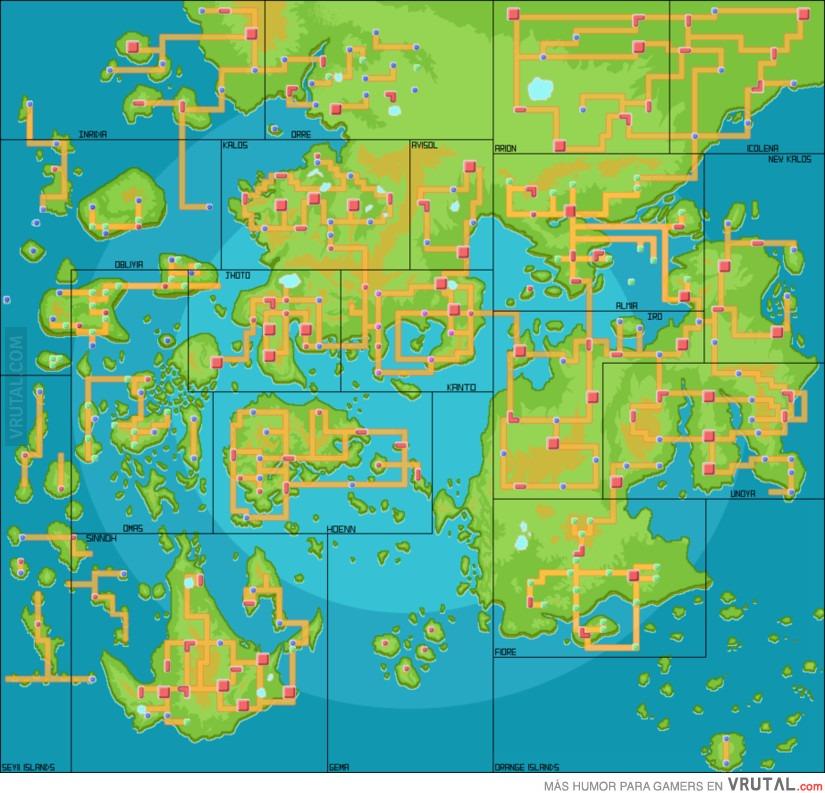 VRUTAL / Mapa del mundo Pokémon incluyendo todas las áreas